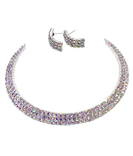 Elegant Three Row Aurora Borealis Rhinestone Choker Necklace with Matching Pierced Earrings in Silver-Tone