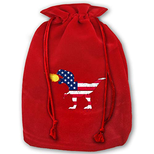 Arnold Glenn American Flag Dinosaur Fire Bags with Drawstring Large Size 17.7