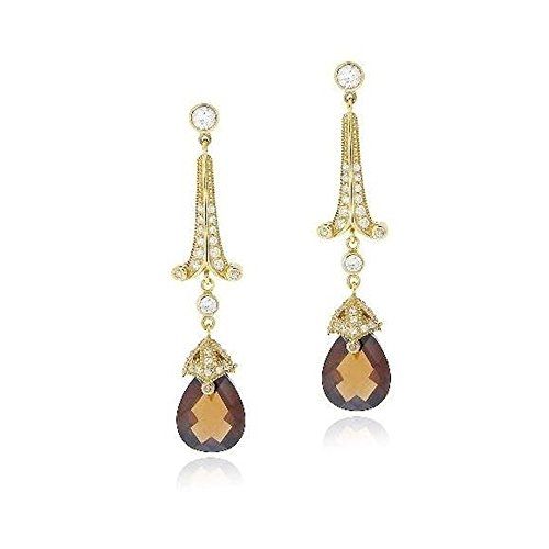 (Gold Tone Over Sterling Silver 18Ct Chocolate & Clear Cubic Zirconia Estate Dangle Earrings )