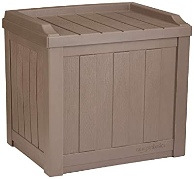 AmazonBasics 22-Gallon Resin Deck Storage Box, Mocha