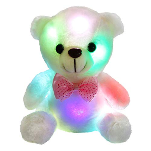 WEWILL Glow Teddy Bear with Luminous LED Colorful Night Lights Stuffed Animals, Gifts for Kids on Christmas, Birthday, Halloween Holiday Occasions, 8-Inch, White -