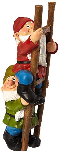 Design Toscano Up the Ladder Climbing Garden Gnome Statue, Multicolored