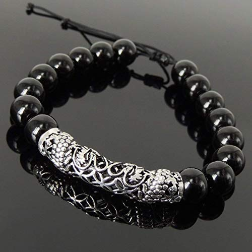 (Handmade Dragon Zodiac Flower of Life Braided Bracelet for Men's Women's Healing Protection with Bright Black Onyx 10mm Beads, Adjustable Drawstring, Genuine 925 Sterling Silver, Free Gift Box)