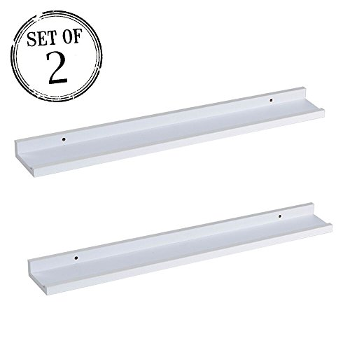 O&K Furniture Set of 2 Picture Wall Ledge for Photo Frames, Floating Wall Shelf, (White, 18.9 - Ok Sunglasses
