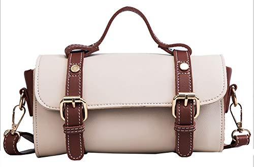 Handbag Small Bowler (Qzunique Women's Bowler Boston Multipurpose Handbags Crossbody Shoulder Bags White)