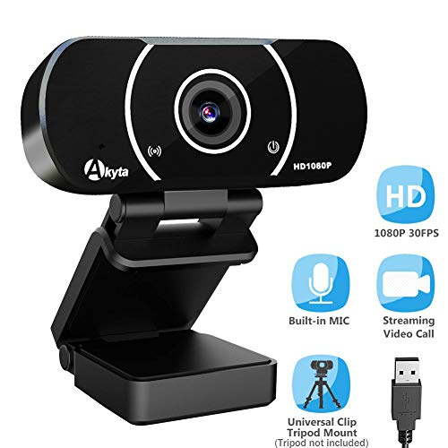Akyta HD Streaming Webcam 1080P, Video Calling and Recording Web Camera, USB Camera for Computer, Laptop, Desktop, YouTube, OBS, Skype, Facebook, Flexible Rotatable Clip with Tripod Mount Hole (Web Camera 1080)