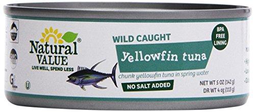 - Natural Value, Tuna, No Salt Yellowfin Chunk in Water, 5oz