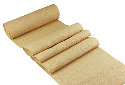 COTTON CRAFT - 2 Pack - Jute Burlap Table Runner - 12 in. x 108 in. Each - 6 Yards Total - Rustic Hessian - Overlocked Edges - for Weddings, Home Décor & Crafts - CONTENTS: Package contains Two Natural Color Jute Burlap Table Runners Rolls with overlocked and sewn edges SIZE: Each Table Runner Roll measures 12 inches wide and 3 Yards long (108 inches). HIGH QUALITY: Made from 100% Natural Jute Fibers. Tighter and no -gap weave makes it more durable material. - table-runners, kitchen-dining-room-table-linens, kitchen-dining-room - 41u93CfYFlL -