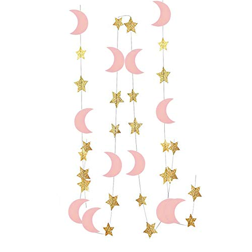 - 12 Feet Moon and Star Garland, Pink Moons, Gold Stars, Reusable Streamer, Glittering Confetti for Birthday Party, Baby Shower, Wedding, Engagement Decorations, I Love You to The Moon and Back