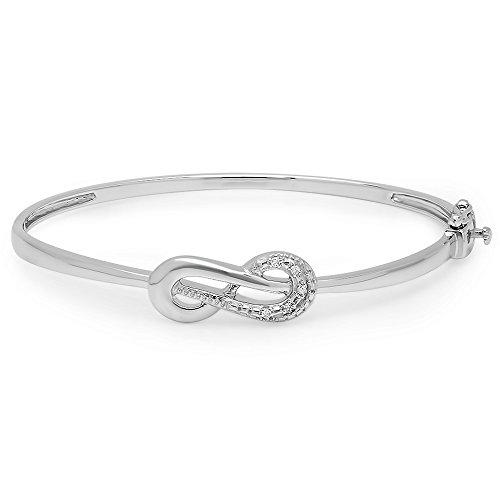 0.06 Carat (ctw) Sterling Silver Round Cut White Diamond Ladies Infinity Loop Bangle Bracelet