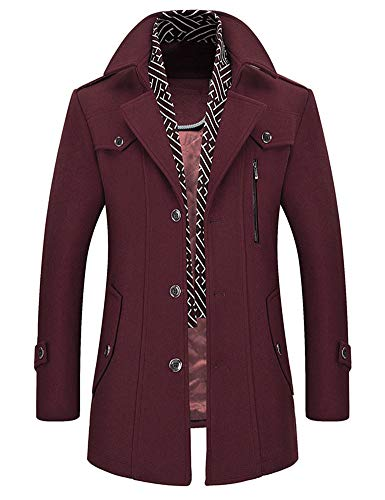 Idopy Men`s Wool Blend Jacket Notched Collar Pea Coat with Detachable Scarf Red US M