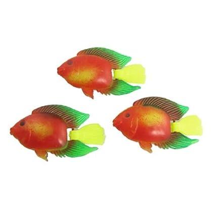 eDealMax Jardin Tropical de plástico DE 3 piezas flotante acuario de peces ornamento, colorido