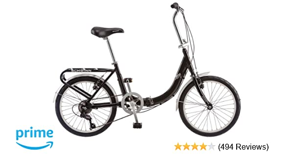 amazon com schwinn loop 20 folding bike black sports outdoors