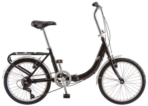 Schwinn Loop Folding Bicycle, Featuring Front and Rear Fenders, Rear Carry Rack, and Kickstand with 7-Speed Drivetrain, Includes Nylon Carrying Bag, 20-Inch Wheels, Black