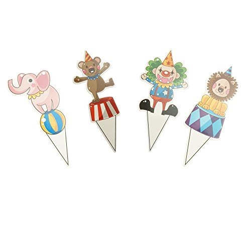 Bilipala Party Circus Animal Cake Cupcake Toppers for Party Decorations, Pack of 100