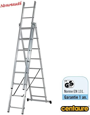 CENTAURE-Escalera de apoyo corredera, 3 tramos CLT3 convertible, 2,05/4 m, con base referido CENTAURE: Amazon.es: Jardín