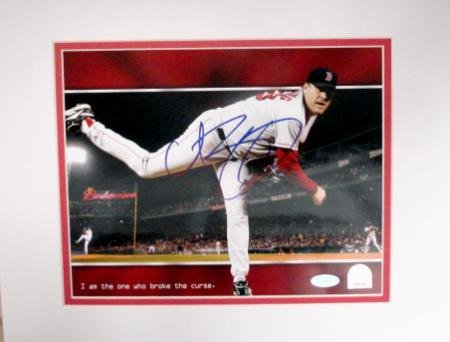 (Curt Schilling Autographed Photo - 8x10 2004 World Series Champion drymount matted - Autographed MLB)