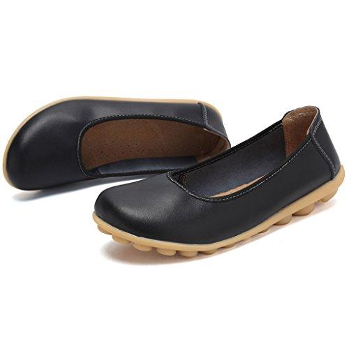 Mocasines De Cuero Genuino De Mujer De Cior Mocasines Casuales Zapatos De Conducción Zapatillas De Deporte Interiores De Deslizamiento 6.black