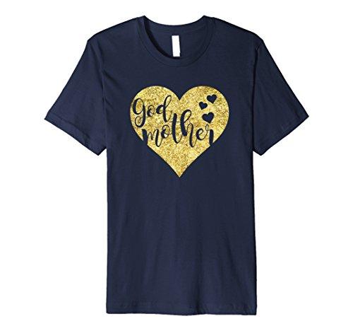 Godmother Heart (Mens Godmother Golden Heart Gift T Shirt XL Navy)