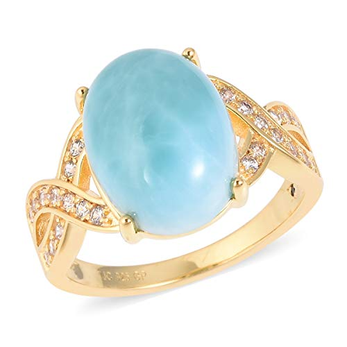 (Promise Ring 925 Sterling Silver Vermeil Yellow Gold Larimar White Zircon Gift Jewelry for Women Size 7)