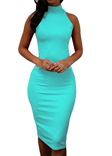 Jaycargogo Blue Sleeveless Fit High Light Women Collar Slim Dress Party Bodycon PFrUpAPW