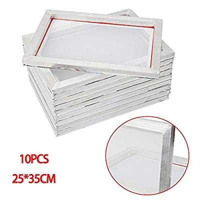 10PC 10X14 Inch Aluminum Silk Screen Printing 43 Frames with 110 White Mesh for Screen Printing 43T Silk Print Polyester Mesh Tool