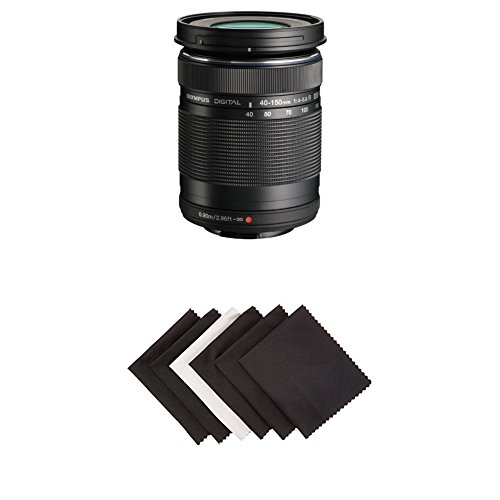 Olympus M. 40-150mm F4.0-5.6 R Zoom Lens (Black) for Olympus and Panasonic Micro 4/3 Cameras w/ AmazonBasics Microfiber Cloths