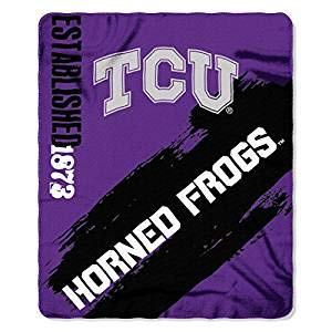 "Officially Licensed NCAA Texas Christian University ""Painted"" Fleece Throw Blanket, 50"" x 60"", Purple"