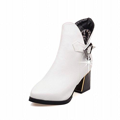 Carolbar Womens Mode Elegans Spänne Dragkedja Strass Hängande Chunky Mid Häl Klänning Boots Vit