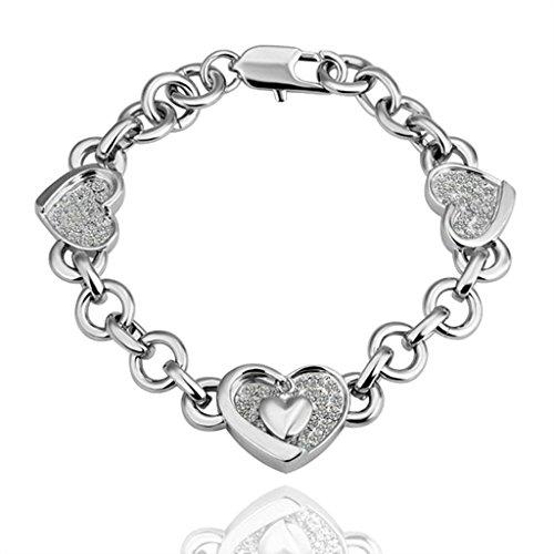 Bishilin Gold Plated Silver Heart Shape Crystal Link Bracelet For Women Brides (Dolce Gabbana Gold Bracelets)