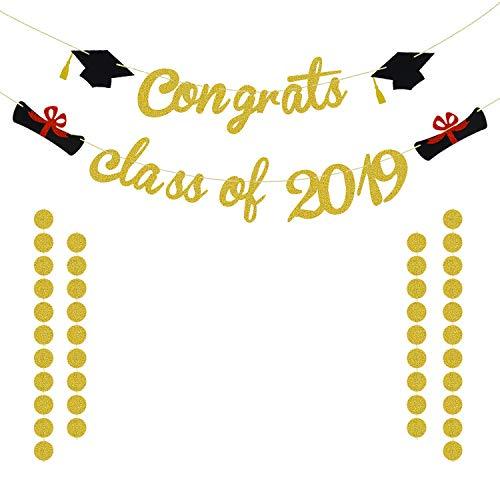 Congrats Class of 2019 Graduation Banner | Gold Graduation Hanging Decorations for Graduation Party Supplies 2019 | Graduation Decorations for Prom College, High School, Nursing Grad Party Supplies | NO Assembled]()