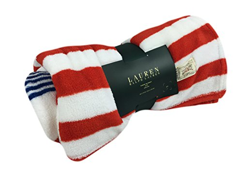 Lauren Ralph Lauren Fleece Decorative Throw Americana Stripe Pattern 60 X 70 In