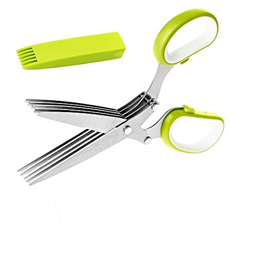 Dimoxii Herb Scissors,Multi-blades Cutting Herbal Scissors Stainless Steel with Cleaning Comb And Protective Cover for -