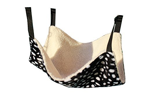 DYQWT Pet Cage Hammock, Polyester Polka Dot Small Pet Animal Small Dog Puppy Cat Kitty Kitten Ferret Hanging Hammock Bed Sleepy Pad Comforter Black and White