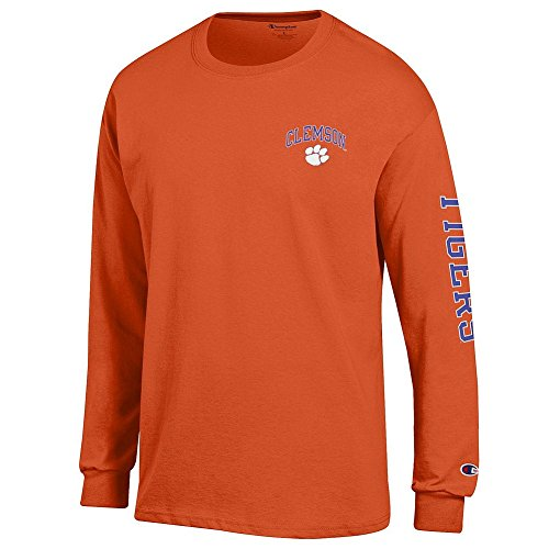 Elite Fan Shop Clemson Tigers Long Sleeve Tshirt Letterman Orange - L