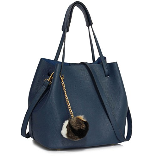 LeahWard Women's Faux Leather Shoulder Bags Quality Nice Handbags For School A4 Holder CW190 Blue/Navy Hobo