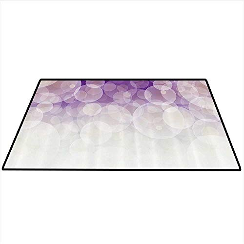 Abstract Area Rug Carpet Hazy Circles Background Blurry Digital Gradient Pastel Tones Artful Image Art Door mat 5'x6' (W150cmxL180cm) Cocnut Violet Lilac