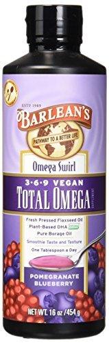 Barlean's Organic Oils Total Omega Swirl Vegan Flax/Borage Pomegranate Blueberry, 16-Ounce Bottle by Barlean's Organic Oils