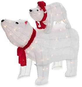Luz hasta vacaciones césped decoración oso polar Set–2piezas Mamá y bebé