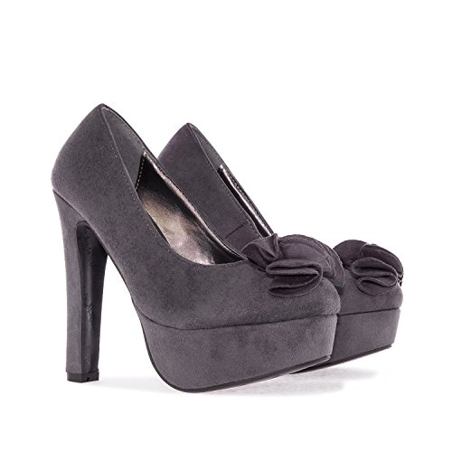 Andres Machado Am5101.grey Faux Suede Platform Pumps.womens Petite Sizes: Us 2 To 5 / Eu 32 To 35. Grey Suede