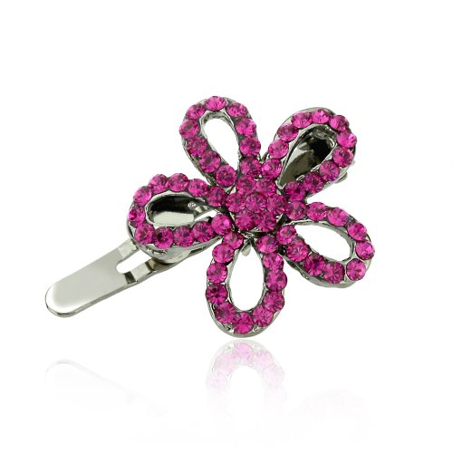 DoubleAccent Hair Jewelry Small Hair Pin Crystal Daisy Flower Magnet Barrette, Fuchsia ()