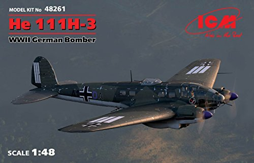 (PLASTIC MODEL BUILDING AIRPLANE KIT HE 111H-3 WWII GERMAN BOMBER 1/48 ICM 48261)