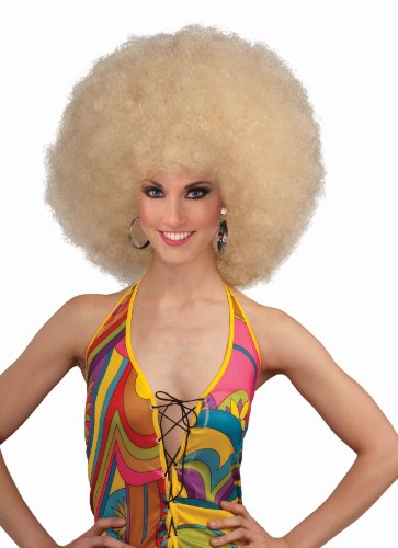 Forum Novelties Unisex Deluxe Mega Afro Costume Wig, Blonde, One Size (Curly Blonde Costume Wig)