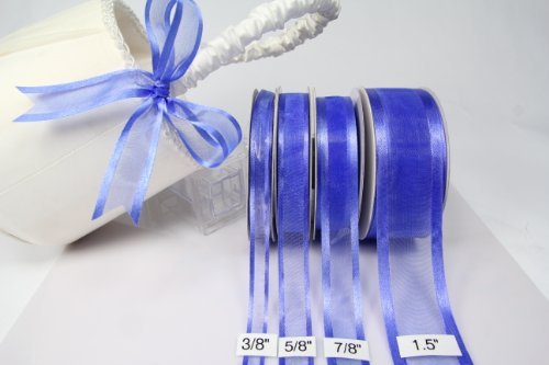 Royal Blue Organza Ribbon With Satin Edge-25 Yards X 3/8 Inches