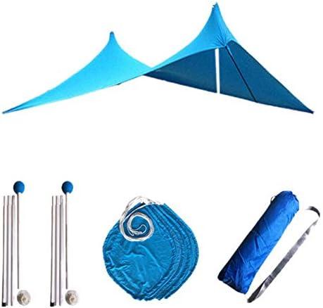 ORETG45 Sonnensegel Strandzelt Anti-UV Winddicht Sonnenschutz Sonnendach mit Sandsack Stangen High Stretch Stoff 210x150x160cm für Strand Camping Outdoor, nicht null, blau, Free Size
