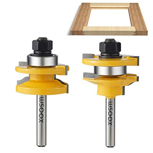 WSOOX 3 PCS Router Bit Set, Raised Panel Cabinet Door Making Router Bit Set, Ogee Rail and Stile Router Bit Set, Professional Carbide Milling Cutters for Woodworking (1/4-Inch Shank)
