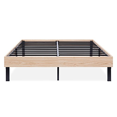 PrimaSleep Modern Wood Bed Frame/Steel Slat Support, Natural Brown, 14