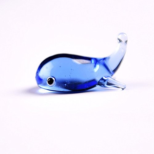 Merssavo Mini Whale Shaped Crystal Glass Dip Pen Holder Desk Craft Decor Collection- Blue