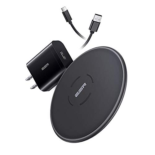 ESR Wireless Charger Set, 7.5W/10W, with QC 3.0 Adapter, Fast-Charging Compatible with iPhone Xs/Xs Max/XR/X/8/8+, Galaxy S10/S10+/S10e/S9/S9+, 5W Charging for AirPods, Huawei P30 Pro, Other Devices