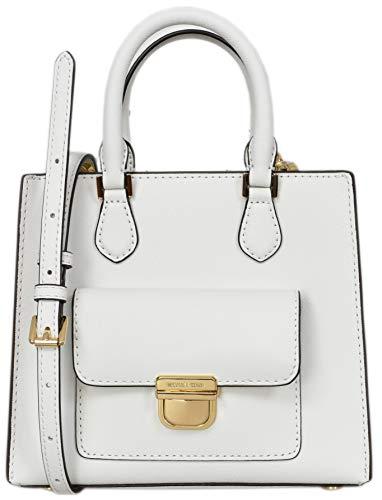 - Michael Kors Small North South Bridgette Messenger Womens Saffiano Leather Bag Optic White (Optic White)